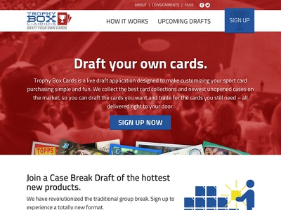 Sports Cards Fantasy Draft marketing site sports fantasy draft cards baseball cards website site web landing page marketing