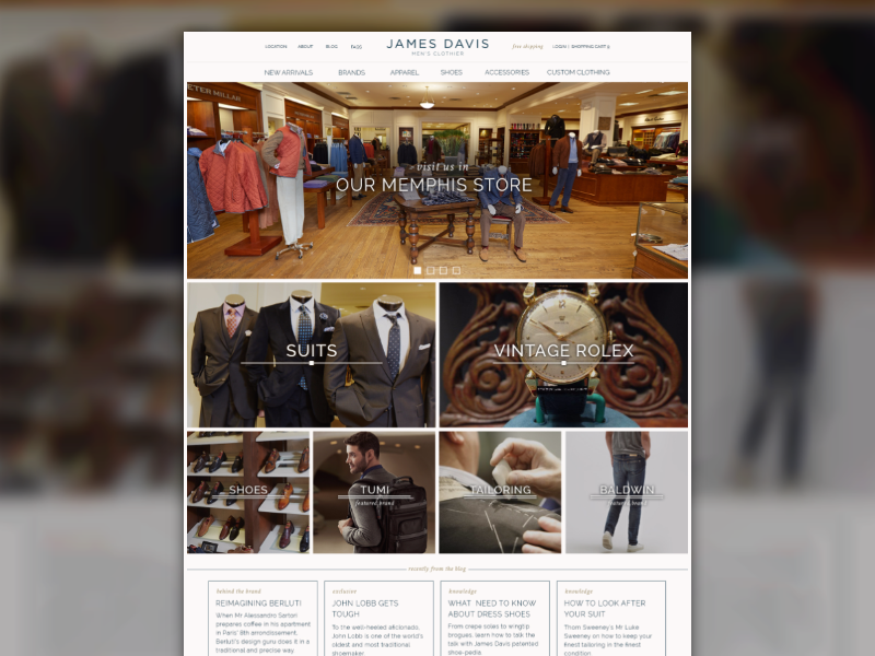 Men's Clothing Store simple clean retail e-commmerce website homepage