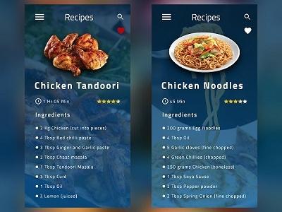 Recipes App UI Design chicken creative uiux ui design food app recipes food ui app