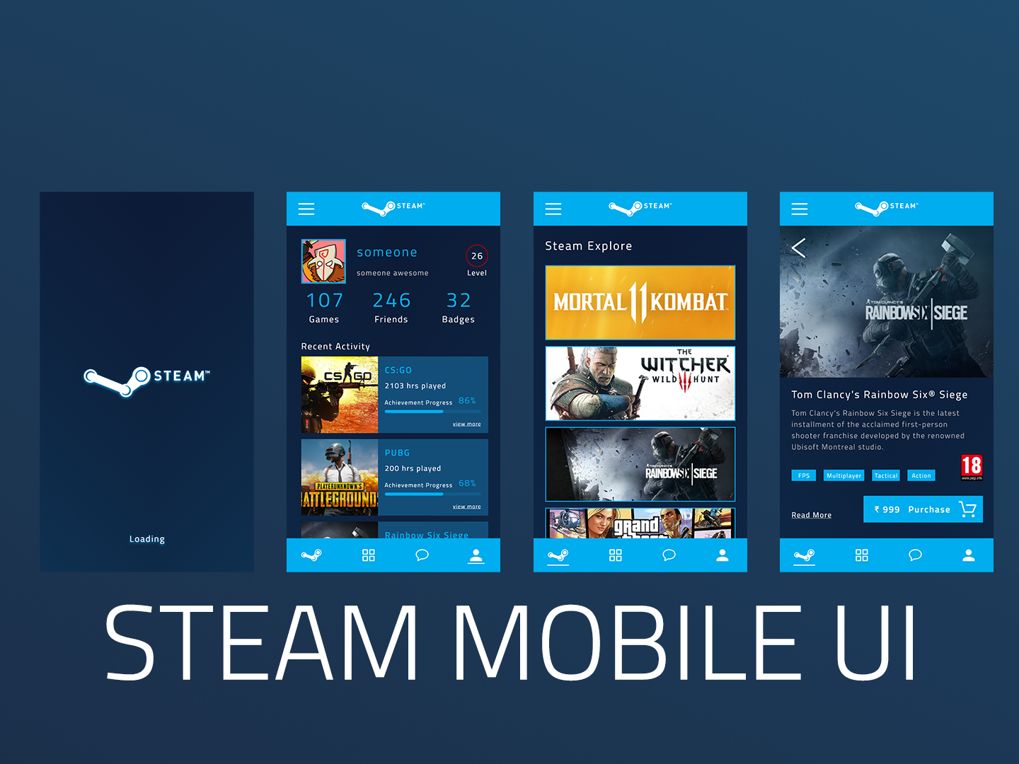 Steam App Concept by Siddhant on Dribbble