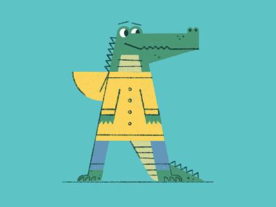 Animal Apparel Alphabet - A is for Alligator (in an Anorak). retro procreate illustration crocodile character animal anorak alphabet alligator
