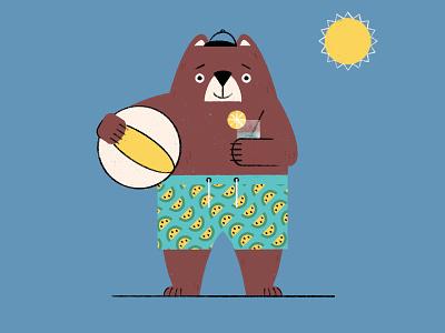 Animal Apparel Alphabet Reject - B is for Bear (in Bermudas) retro procreate character bermuda shorts bear beach animal alphabet