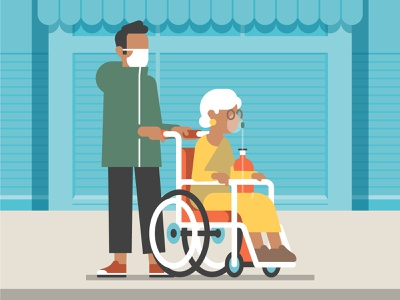 Political and Economic Impact of COVID-19 vector shop oxygen illustration flat face mask economy economics covid 19 character design character wheel chair