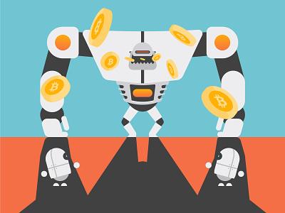Digital Economy technology tech robots robot it internet illustration flat economics economy digital economy digital data character design character bots bitcoin ai vector