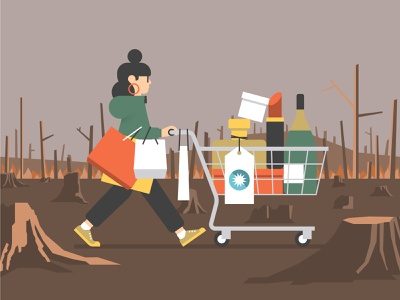 Social Economics of Climate Change wasteland social economics shopping trolley shopping illustration green economics global north economics forest fire environmental degradation economy economics deforestation consumerism consumer climate change character design character capitalist capitalism wildfire