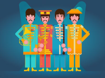 The Beatles - Sgt. Pepper's Lonely Hearts Club Band vector sixties portrait pop music illustration flat graphics flat character design character the beatles