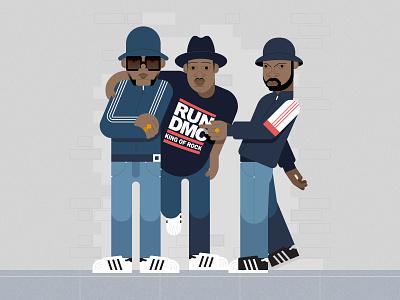 Run-DMC vector run-dmc rappers rap portrait music illustration hip-hop flat graphics character design character adidas