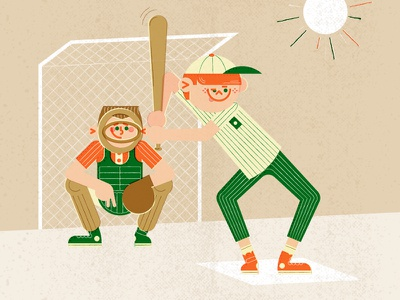 Swing Batter Swing! vintage illustration vintage sixties retro kids illustration childrens illustration character design character catcher batter baseball 60s