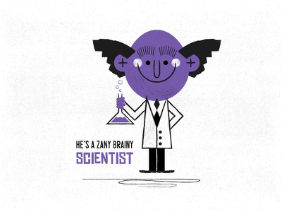 I know, I'll use science! vintage scientist science retro professor kids illustration childrens illustration chemistry character design character 1960sillustration 1960s