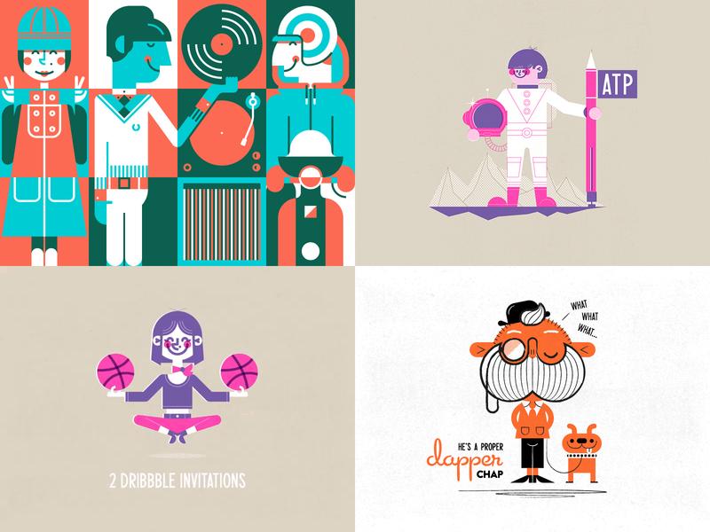 2018 vector riso retro illustration flat graphics flat character design character