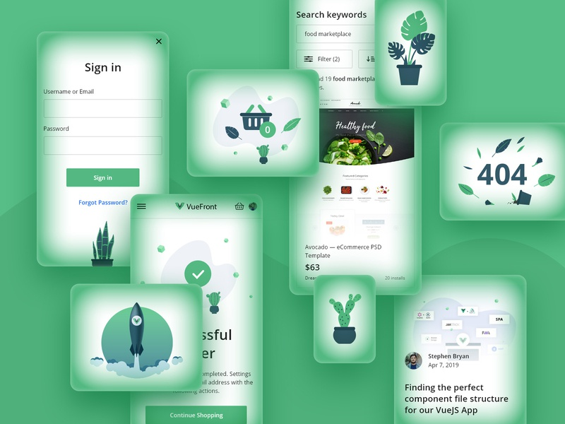 VueFront. Interface elements and illustrations icons illustration vue vuejs vuefront uicomposition opencart ecommerse ux ui