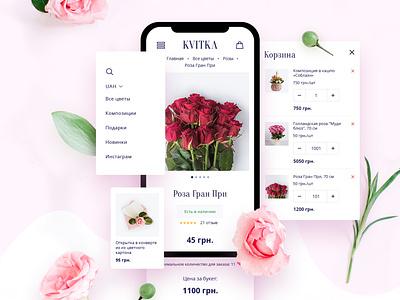 Kvitka Mobile Version flowers mobile ux ui uicomposition opencart ecommerse