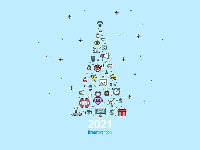 Christmas Card for Dreamvention typography vector branding illustration design graphic design icon set icons icon christmas christmas card