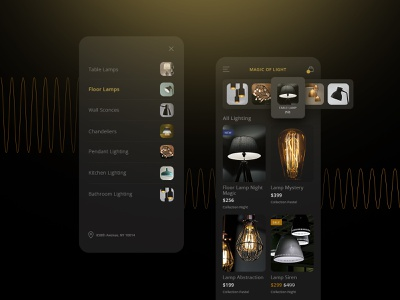 Store Magic of Light application appdesign app interface uiuxdesign uiux dark theme dark mode dark app theme ecommerse ux ui