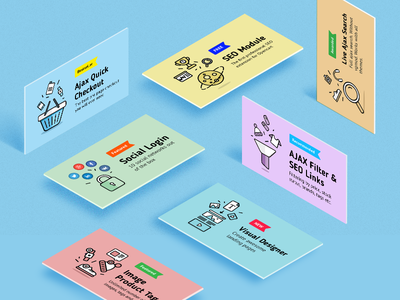 Cards with icons ux ui opencart module icons cards