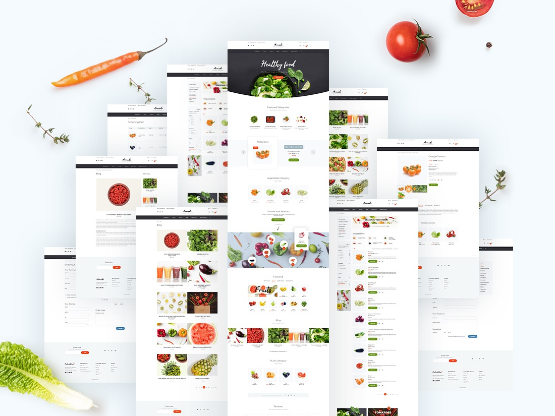 Ecommerce Food Template + Page Home for OpenCart delivery food template ux ui extensions ecommerse opencart