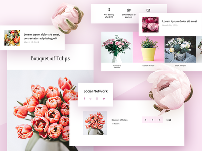 Flowers Theme. Set of Elements uicomposition module extension template icons ux ui envato theme themeforest iconset shopify ecommerse opencart