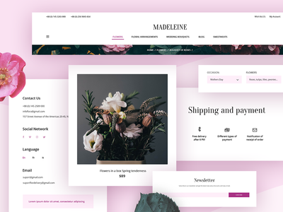 Madeleine. Flowers Shop ux ui template uicomposition themeforest envato theme ecommerse opencart