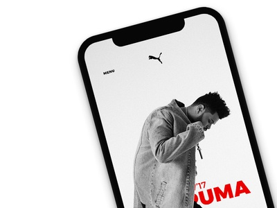 Homescreen the weeknd puma full screen imagery interaction concepts interface concept sports wear e-commerce gestures ui app
