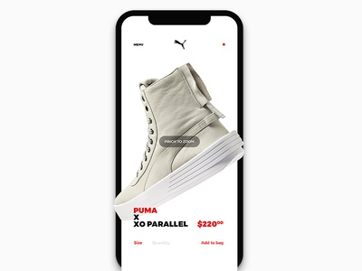 Product Detailpages product detail page iconless app ui gestures e-commerce sports wear interface concept interaction concepts full screen imagery the weeknd puma