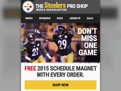 Email marketing campaign made with invision responsive steelers nfl marketing email