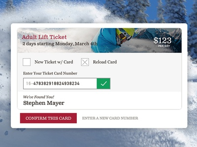 Lift Ticket Card View material design card ski ecommerce