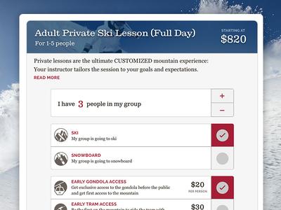 Ordering Ski Lessons mobile first material design card ski ecommerce