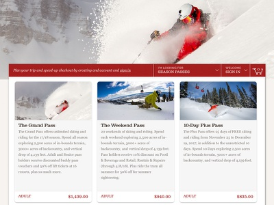 Ski Resort Product Category Listing mobile first material design card ski ecommerce