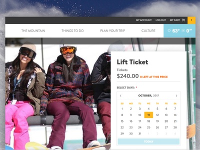 Lift Ticket Page Detail diffuse shadows flat datepicker ecommerce