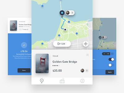 Map flat type ux typography design minimal interface ui photography journal app iphone