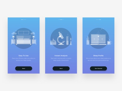 Rested - Intro Illustrations iphone app journal photography ui interface minimal design typography ux type flat