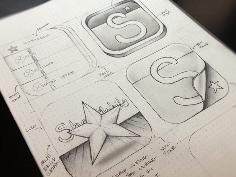 App Icon Concepts iphone app icon launch sketch design idea round pages cards pencil paper wires outline line ios
