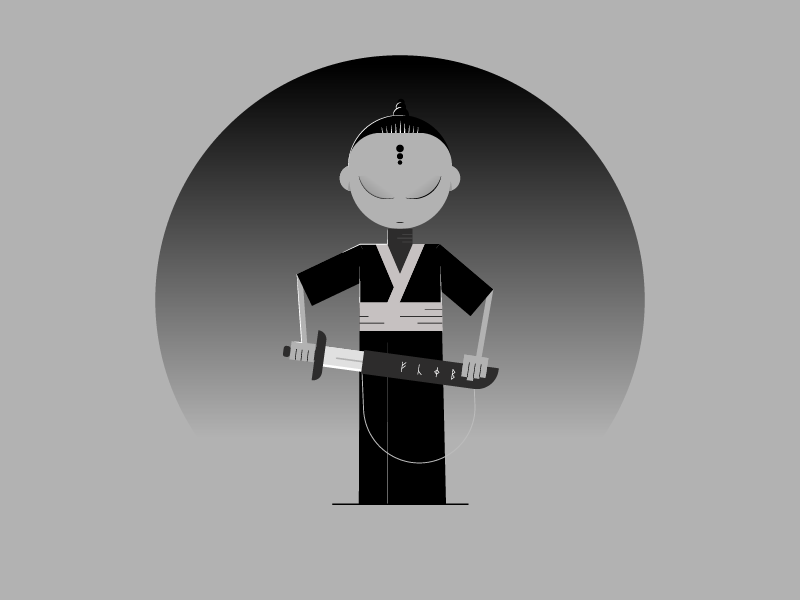 Gray samurai illustration flat