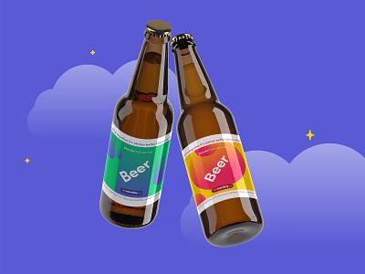 monday beer design gradient labels creative beer branding graphic design