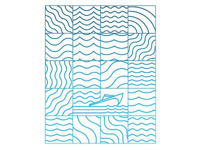 Lake Day 20 Pattern pattern boat swimming design water lake summer new york illustration typography type