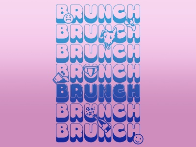 Brunch mimosa champagne eggs emoji party alcohol breakfast brunch weekend typography type