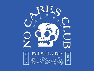 No Cares Club typography type shit halloween death club design friends logo illustration skull