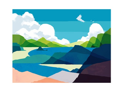 Summer Mountains sky nature water ocean lake landscape mountains