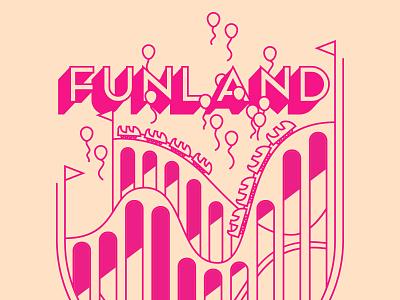 Funland! logo theme park fun balloons carnival festival rollercoaster amusement park