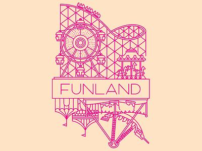 Funland! v2 carnival logo bumper cars rides ferris wheel carousel funland theme park roller coaster amusement park