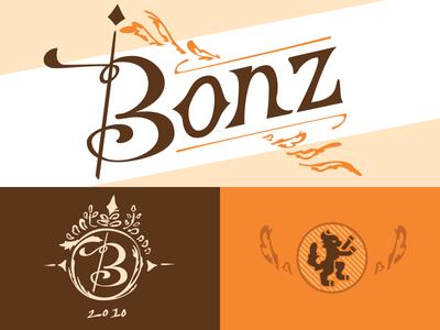 Bonz 2 wheat orange label design typography type bonz beer hearldry cat