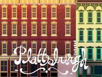 Plattsburgh NY new york city architecture illustration type