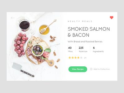 Recipe Card minimalist clean widget food recipe flat app restaurant web