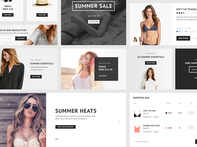 Free Psd - Ecommerce Kit ecommerce kit fashion women style minimal clean psd freebie
