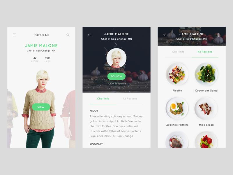 Profile screen - Recipe app chef cooking ios app clean minimal profile food recipe