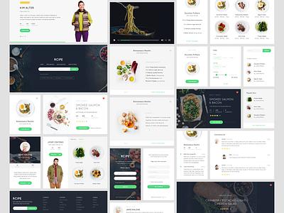 Free Sketch - Recipe UI kit ui kit ui sketch freebies minimal clean mobile food ios mobile app app recipe