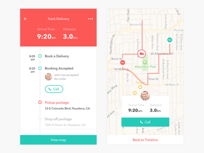 Track Delivery Screen trace tracking minimal app map booking parcel delivery ios ux ui mobile