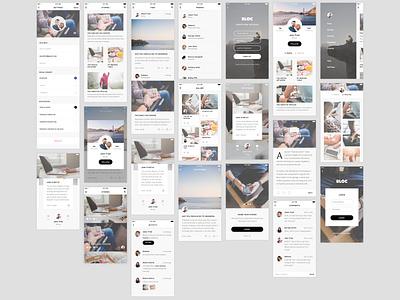 Free Sketch - Blog UI kit ios ui kit freebies minimal ux ui uikit mobile blog freebie