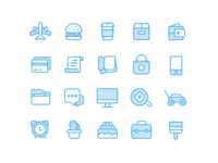 Blue Icons from Personal Assistant App