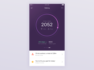 Health/Fitness app clean minimal app ios mobile step walk fit healt
